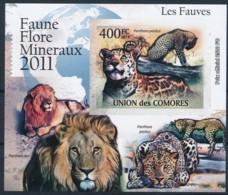 D - [39403]TB//ND/Imperf-Comores 2011 - BL2167, Faune, Les Fauves, Léopard, Panthère. - Raubkatzen