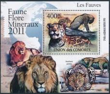 D - [39423]TB//**/Mnh-Comores 2011 - BL2167, Faune, Les Fauves, Léopard, Panthère. - Raubkatzen