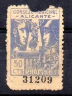 Viñeta Consejo Municipal De Alicante 50cts - Verschlussmarken Bürgerkrieg