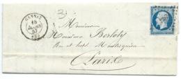 N° 14 BLEU NAPOLEON SUR LETTRE  / GANNAT POUR PARIS / 18 MARS 1857 - Marcofilie (Brieven)