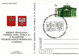 POLONIA - 1983 Pope Papa GIOVANNI PAOLO II Visita Warzawa 17.6.83 (stemma Vaticano E Polacco) Su Cartolina Postale CP - Buste