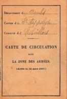 WW1 1918 - LIEBVILLERS (25) CARTE DE CIRCULATION Dans LA ZONE DES ARMÉES - Documenti Storici
