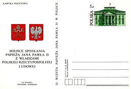 POLONIA - 1983 Pope Papa GIOVANNI PAOLO II Visita Warzawa 17.6.83 (stemma Vaticano E Polacco) Su Cart. Postale CP Nuova - Briefe U. Dokumente