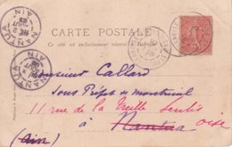"""Daguin Jumelé """" Arrivée - Distribution """" (2 & 3 Août 1906) De NANTUA  AIN En Réexpédition ! Timbre Yvert 129 SEMEUSE 10c - Marcofilie (Brieven)"""