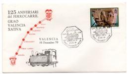 Carta Con Matasellos Commemorativo Ferrocarril Grao Valencia -xativa - 1931-Hoy: 2ª República - ... Juan Carlos I