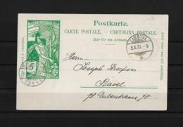 1900 HEIMAT BASELLAND → Postkarte UPU Von Liestal Nach Basel - Entiers Postaux