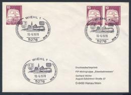 Deutschland Germany 1978 Cover / Brief / Enveloppe - Fahrzeugschau DB, Beim Heimatfest, Wiehl / Vehicle Show - Treinen