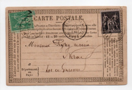 - Carte Postale NERAC (Lot Et Garonne) 21 MAI 1877 - Bel Affranchissement Type Sage - A ETUDIER - - Postmark Collection (Covers)