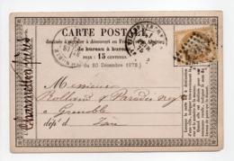 - Carte Postale VILLEFRANCHE Pour GRENOBLE 17 FEVR 1875 - 15 C. Bistre Type Cérès Gros Chiffres - A ETUDIER - - Postmark Collection (Covers)