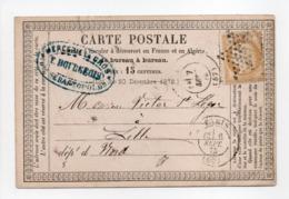 - Carte Postale PARIS Pour LILLE 6 SEPT 1875 - 15 C. Bistre Type Cérès Gros Chiffres - A ETUDIER - - Postmark Collection (Covers)