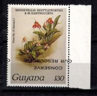 MBP-BK2-153-2 MINT ¤ GUYANA 1w MINT OUT OF SET- MINT - OVERPRINT ¤ FLOWERS OF THE WORLD - ORCHIDEE - FLEURS BLÜMEN - Orchideeën