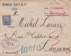 Lettre Brésil > Suisse Via Liverpool 1917 Contrôle CCP 914 Commission Française LONDRES + FICHE DE SAISIE Correspondante - Storia Postale