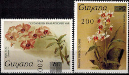 MBP-BK2-154-2 MINT ¤ GUYANA 2w MINT OUT OF SET- MINT - OVERPRINT ¤ FLOWERS OF THE WORLD - ORCHIDEE - FLEURS BLÜMEN - Orchideeën