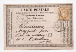- Carte Postale VARILLES (Varilhes / Ariège) Pour TOULOUSE 21 JANV 1875 - 15 C. Bistre Type Cérès Gros Chiffres - - Postmark Collection (Covers)