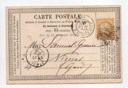 - Carte Postale PARIS Pour NIMES 11 JUIL 1874 - 15 C. Bistre Type Cérès Petits Chiffres - A ETUDIER - - Postmark Collection (Covers)
