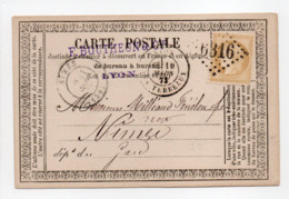 - Carte Postale LYON (Les Terreaux) Pour NIMES 10 MARS 1873 - 15 C. Bistre Type Cérès Petits Chiffres - A ETUDIER - - Postmark Collection (Covers)