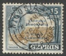 Cyprus. 1960-61 Republic Overprint. 15m Used. SG 192 - Unused Stamps