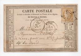 - Carte Postale PARIS Pour LOOS (Nord) 5 MAI 1873 - 15 C. Bistre Type Cérès Petits Chiffres - - Postmark Collection (Covers)