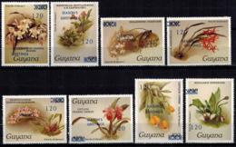 MBP-BK2-164-2 MINT ¤ GUYANA 8w MINT OUT OF SET- MINT - OVERPRINT ¤ FLOWERS OF THE WORLD - ORCHIDEE - FLEURS BLÜMEN - Orchideeën