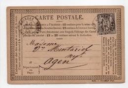 - Carte Postale MOISSAC Pour AGEN 17 JUIL 1877 - 15 C. Gris Type Sage II - A ETUDIER - - Postmark Collection (Covers)