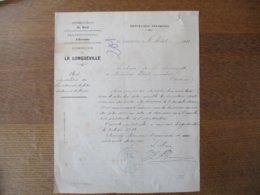 LA LONGUEVILLE DEPARTEMENT DU NORD ARRONDISSEMENT D'AVESNES COURRIER LE MAIRE DU 8 AOÛT 1922 - Historische Dokumente
