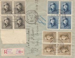Recommandé Bruxelles Exposition Philatélique 1921 /bord De Feuille 20 Ct Avec C C Perforé - 1919-1920 Albert Met Helm