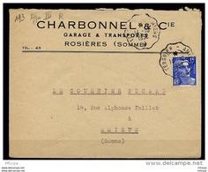 Am3151 Convoyeur Amiens - Tergnier R TypeIII / Gandon 15f Lettre 14/10/52 - Postmark Collection (Covers)
