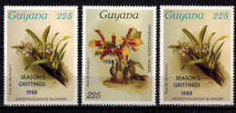 MBP-BK2-166-2 MINT ¤ GUYANA 3w MINT OUT OF SET- MINT - OVERPRINT ¤ FLOWERS OF THE WORLD - ORCHIDEE - FLEURS BLÜMEN - Orchids
