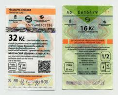 Pair Of Used Czech Tickets For Bus And/or Metro - Prague - Available 90 Minutes And In 4 Zones - Subway