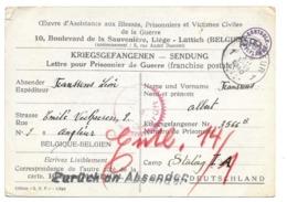 Lettre Pour Prisonnier De Guerre Censure  Angleur (Liège)  Vers Stalag I A  04.12.1940 - Guerre 40-45