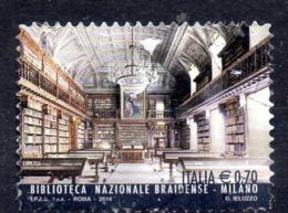ITALIE. Timbre Oblitéré De 2014. Bibliothèque Nationale Braidense De Milan. - 2011-...: Usati