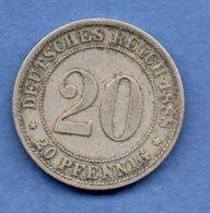 Allemagne  -  20 Pfennig 1888 D -  état  TTB - [ 2] 1871-1918: Deutsches Kaiserreich