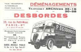 Carte De Visite Publicitaire: Déménagements Garde-meubles P. Desbordes, Rue Du Petit-Musc, Paris - Cartes De Visite