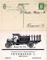 Norwegen 1910, 5 öre Ganzsache V. Kristiania M. Rs. Zudruck Oldtimer LKW - Trucks