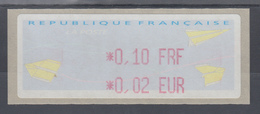 Frankreich LISA-ATM Auf Papier Papierflieger Wert Rot 0,10 FRF / 0,02 EUR ** - Vignettes D'affranchissement