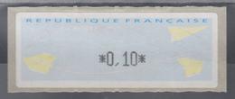 Frankreich LISA-ATM Auf Papier Papierflieger, Wert Schwarz 0,10 ** - Vignettes D'affranchissement