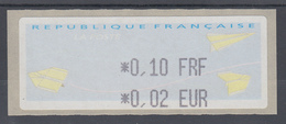 Frankreich LISA-ATM Auf Papier Papierflieger Wert Schwarz 0,10 FRF / 0,02 EUR ** - Vignettes D'affranchissement