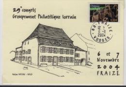 FRAIZE (Vosges) 6 11 2004 Congrès Groupement Philatélique Lorrain, Illustrateur Royer, Maison Wald. - Marcofilie (Brieven)