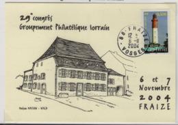 FRAIZE (Vosges) 6 11 2004 Congrès Groupement Philatélique Lorrain, Illustrateur Royer, Maison Wald. - Marcophilie (Lettres)