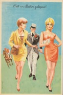 "CPSM Pin-up Sexy Glamour Girl Women Playboy Gentleman ""Galopeur"" Hippisme Illustrateur L. CARRIERE N° 50315 - Carrière, Louis"