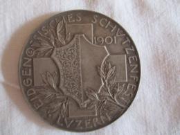 Suisse: Fête Fédérale De Tir Lucerne 1901 (avec Sa Boîte) Gravure Hans Frei, Bâle - Monarchia / Nobiltà