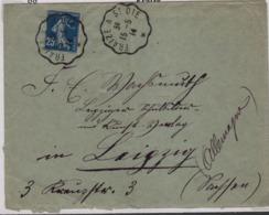FRAIZE (Vosges) Convoyeur Ligne Fraize à St Dié, Sur 25c Semeuse Pour L'Allemagne, 15 Mai 1914 - Marcophilie (Lettres)