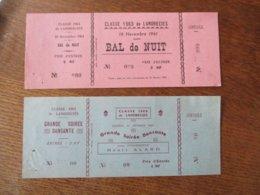 VILLE DE LANDRECIES CLASSE 1962 SOIREE DANSANTE 25 FEVRIER 1961 ET CLASSE 1963 BAL DE NUIT LE 18 NOVEMBRE 1961 - Eintrittskarten
