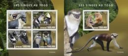 Z08 TG190345ab TOGO 2019 Monkeys In Togo MNH ** Postfrisch - Togo (1960-...)