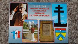 CPM COURSEULLES SUR MER 14 JUIN 1944 CHARLES DE GAULLE LE LIBERATEUR RETROUVE LE TERRE DE FRANCE BLASON CROIX DE LORRAIN - Politieke En Militaire Mannen