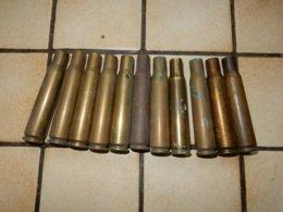 Lot De 11 Douilles De 12.7 Ww2 - Armes Neutralisées