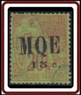 Martinique 1886-1892 - N° 02 (YT) N° 2 (AM) Type I Oblitéré. - Martinica (1886-1947)