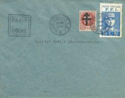 Courrier FFI Pendant L'interruption Du Service Postal - Cachet Poste Spéciale FFI Du 26 XIII 1944 - Griffe PARIS LIBERE - Libération