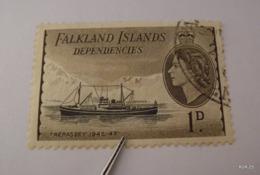 FALKLAND ISLANDS Dependencies 1954, Ship - Trepasey 1945-47. SG G27, 1d. Used. - Falklandinseln