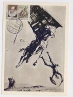 CARTE MAXIMUM CM RARE Card USSR RUSSIA Literature Spain Cervantes Don Quichotte Windmill Horse Painting Kukriniksy - Cartes Maximum
